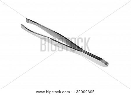 Eyebrow tweezers. Isolation on a white background. Clipping path.