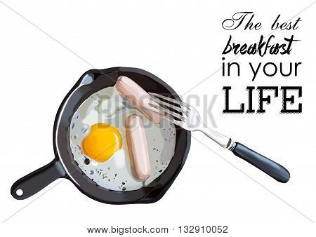 Fried eggs and sausage on pan, food ingredients, vector illustration EPS
