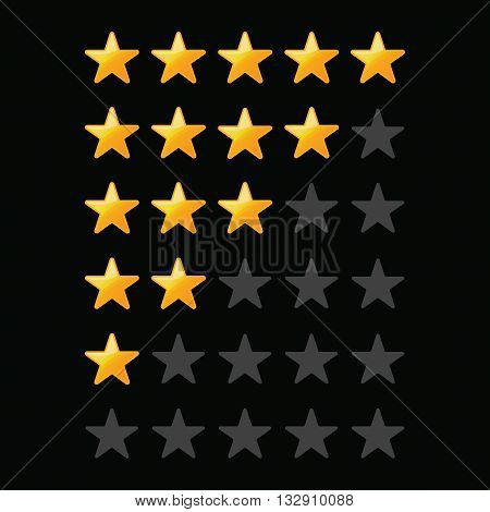 A set of stars for a rating on a black background .Yellow Stars .