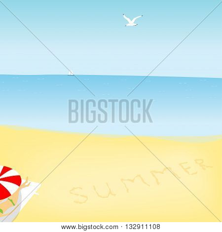 summer sea landscape with seagull girl on a deckchair