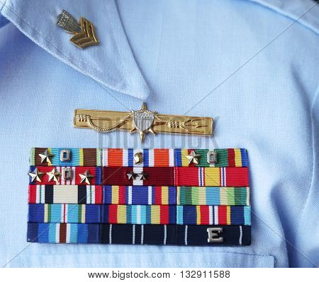 NEW YORK - MAY 26, 2016: US Coast Guard military ribbons on United States Coast Guard Uniform in New York