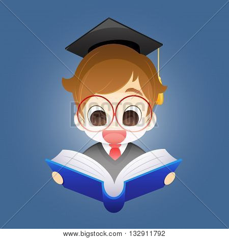 Boy with a book Boy on a blue background holding an open book