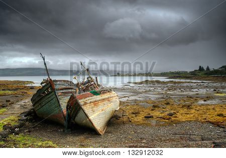 Abandoned boats in Salen Isle of Mull Scotland