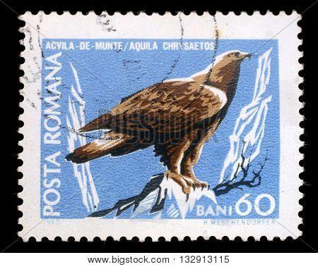 ZAGREB, CROATIA - JULY 18: stamp printed by Romania, show Golden eagle, circa 1968, on July 18, 2012, Zagreb, Croatia