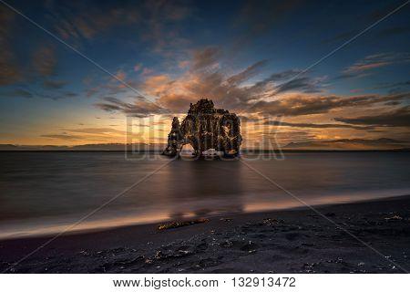 Hvitserkur rock and beach in sunset light Iceland