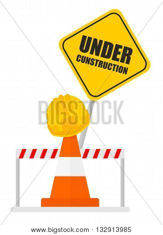 Warning Sign Under Construction Signal Tape