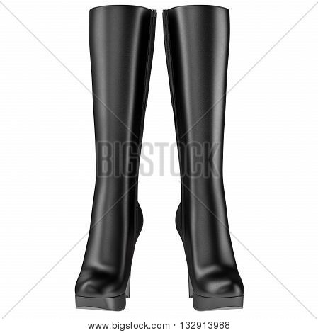 High boots women's leather black high heel, front view. 3D graphic