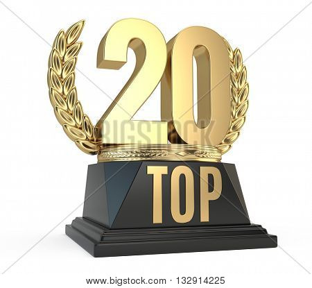 Top 20 twenty award cup symbol isolated on white background. 3d render