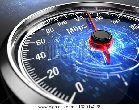High speed internet connection concept - speedometer with internet connection speed.3d render