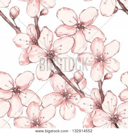 Japanese garden 4. Watercolor seamless floral pattern