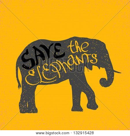 hand drawn silhouette of mighty wild elephant with letters on it