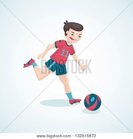 Boy is kicking a ball. Cartoon illustration for soccer.