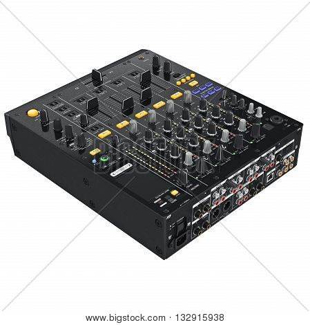 Dj audio devices. Control table panel with regulators and ports. 3D graphic