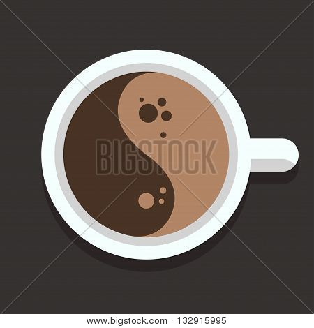 Cup of coffee top view with stylized Yin Yang symbol. Flat vector coffee icon.