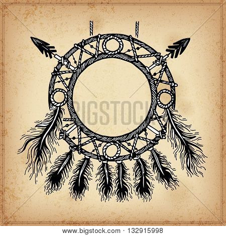 Set of hand drawing ink circle for the Dreamcatcher. Vector illustration. Set of doodle tribal Dream catcher. Elements in native style for greeting card and postcard, henna and tattoo design.