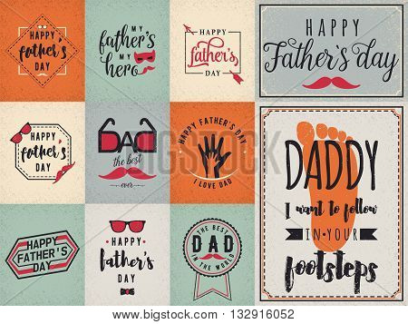 Happy fathers day wishes background, lettering labels design set. Retro father badges. Hand drawn emblems with tie, mustache, glasses, hand. Set card for photo greeting web, print