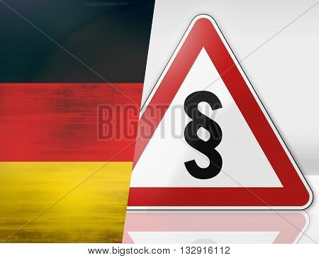 German Warning Road Sign