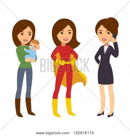Super woman concept. Mom with baby businesswoman on phone and in superhero costume. Humorous life and work balance illustration.