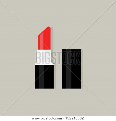 Red lipstick vector icon isolated on gray background, flat lipstick open, pink lipstick with shadow