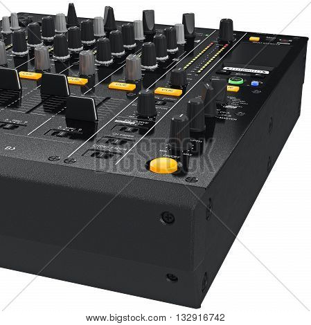Dj mixer control table panel with regulators and lamps, close view. 3D graphic