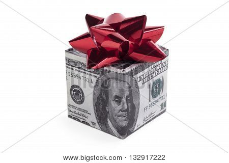 dollar gift box with bow on white background