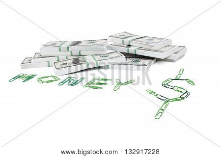 dollars and paper clips on white background