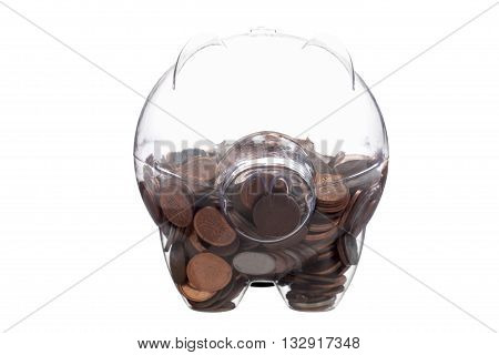 half full glass piggy bank on white background
