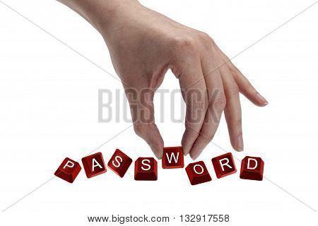 keys spelling the word password isolated on white background