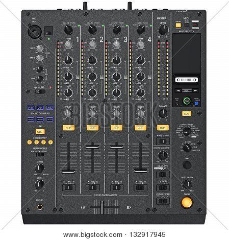 Digital dj mixer control panel with the regulators, ports, light bulbs, top view. 3D graphic