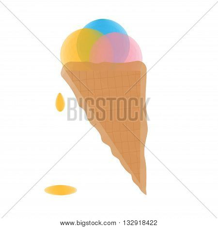 Three scoops of ice cream in a waffle cone. Ice Cream cold summer dessert. Transparent ice cream icon isolated on a white background. Vector illustration.
