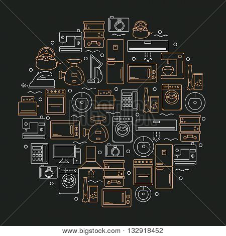 Home appliances. Icons of home appliances placed in a circle. Icons of home appliances on a dark background. Vector illustration.
