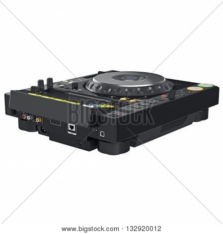 Black dj mixer music table, digital display equipment. 3D graphic