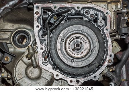 Scrapheap of old car automatic transmission, flange side