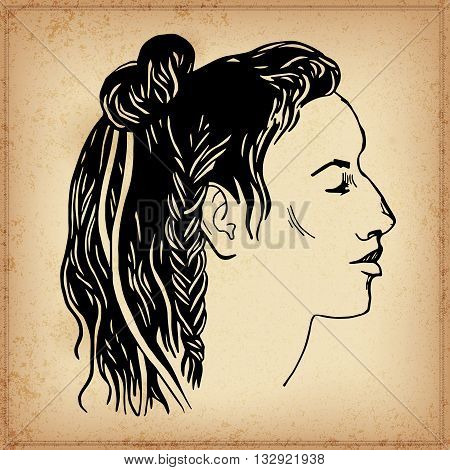 Native American Head. Vector illustration. Elements in native style for greeting card and postcard, henna and tattoo design.