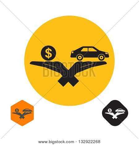 Icon with the crossed hands holding the car and a symbol of a coin dollar. The concept of a good bargain with the vehicle. A vector illustration in flat style.