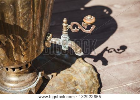 Traditional Russian Samovar Detail, Closeup Photo