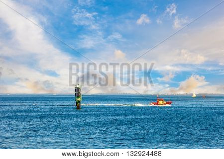 A high speed pilot boat on sea.
