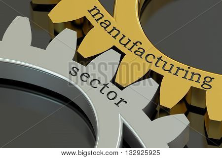 Manufacturing Sector concept on the gearwheels 3D rendering