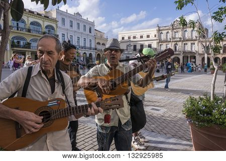 Havana, Cuba - january 19, 2016: A group of musicians in the Plaza Vieja of Havana, Cuba