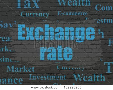 Banking concept: Painted blue text Exchange Rate on Black Brick wall background with  Tag Cloud