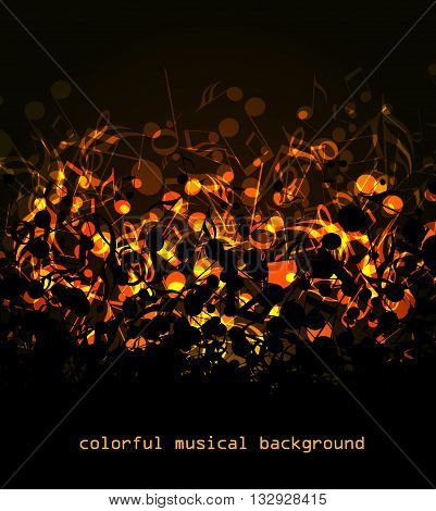 Vector abstract colored notes on a dark background, colorful musical background
