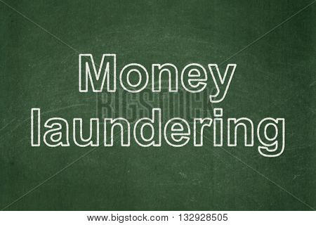 Banking concept: text Money Laundering on Green chalkboard background