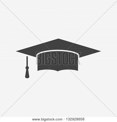 Graduation cap monochrome icon. Mortarboard vector illustration.
