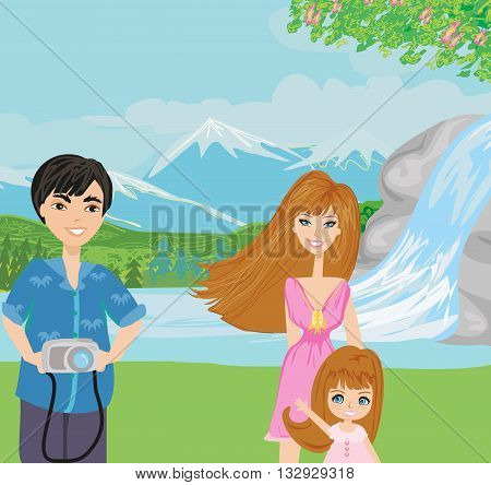 happy Family on vacation on rural landscape , vector illustration