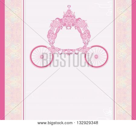 vintage floral carriage invitation pink card , vector illustration