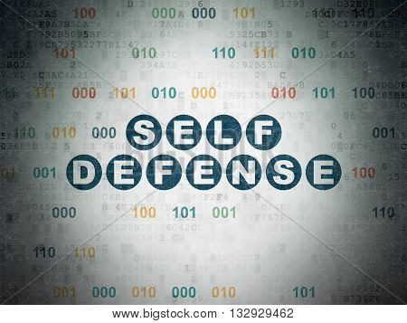 Security concept: Painted blue text Self Defense on Digital Data Paper background with Binary Code