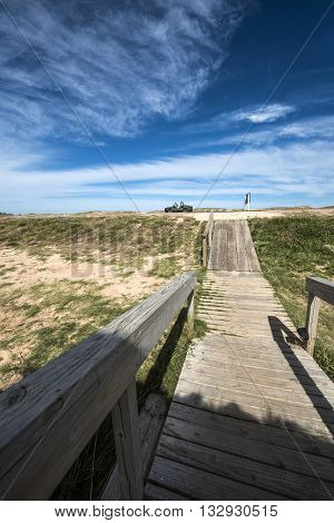 Wooden walkway across the beach on the Uruguayan eco-lake Garzon Jose Ignacio Uruguay