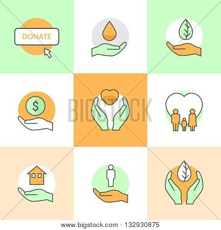 Flat icons set with charity and donation theme flat line vector icons.