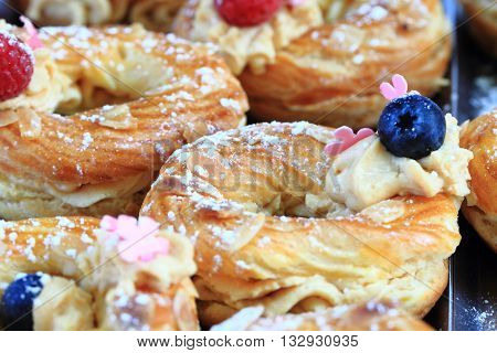 Cream Puff With Raspberries And Blueberries