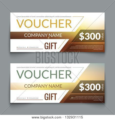 Discount Voucher market Design Template with colorful lines, Gift Voucher Certificate Coupon Template layout, award gift certificate special business card, banner, vector illustration.